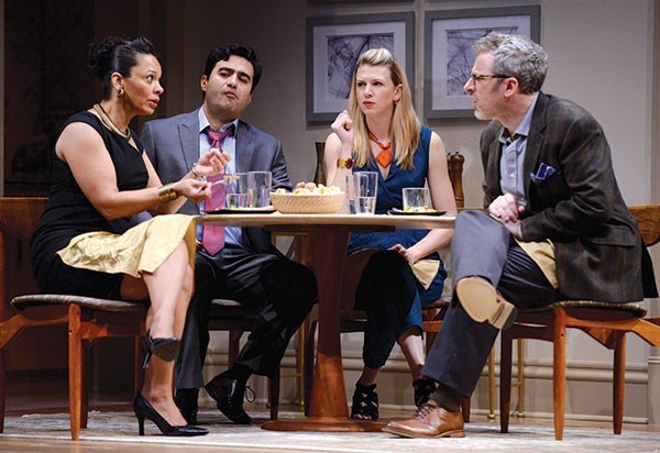 "From left: Nafeesa Monroe, Fajer Kaisi, Lisa Velten Smith and Ryan McCarthy in ""Disgraced"" - PHOTO COURTESY OF PITTSBURGH PUBLIC THEATER"
