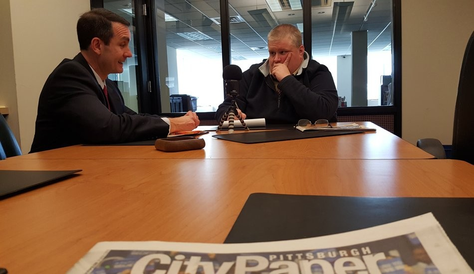 Pennsylvania Auditor General Eugene DePasquale talks with City Paper editor Charlie Deitch about ongoing troubles with the Intergovernmental Cooperation Authority - PHOTO COURTESY OF OFFICE OF AUDITOR GENERAL