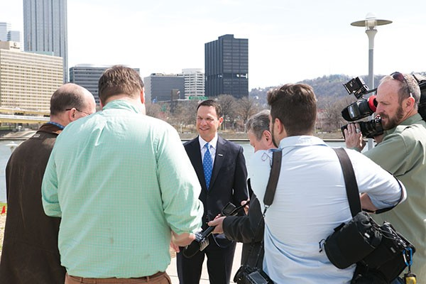 Montgomery County Commissioner Josh Shapiro at a campaign event on the North Side in Pittsburgh