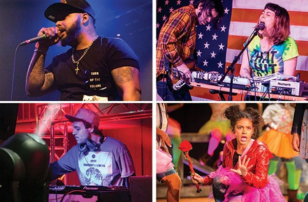 LIVE MUSIC IN PITTSBURGH (CLOCKWISE FROM TOP LEFT): KING OF THE BURGH (PHOTO BY AARON WARNICK), THE LOPEZ (PHOTO BY SARAH WILSON), THE WIZ (PHOTO BY RENEE ROSENSTEEL) AND RAVE AND CHILL TEKKO AFTER-PARTY (PHOTO BY JOHN COLOMBO)
