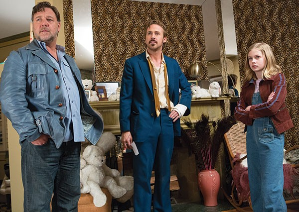 Boys in blue: Russell Crowe, Ryan Gosling and Angourie Rice