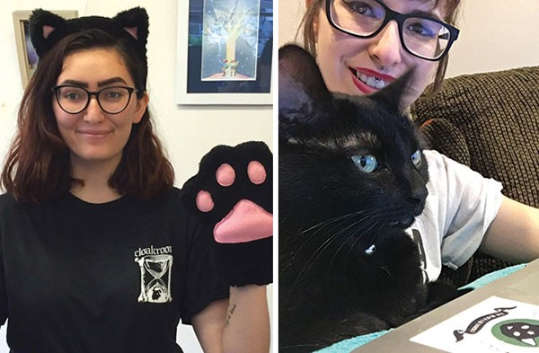 Indigo Baloch poses in a cat café in Japan (left); Olivia Ciotoli at home with her cat, Tilly