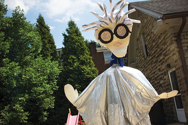 A giant puppet representing Andy Warhol