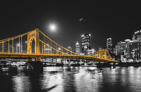 """""""Andy Warhol Bridge under a supermoon in Pittsburgh"""""""