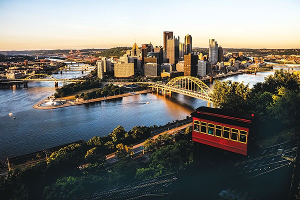The Duquesne Incline overlooking Downtown Pittsburgh