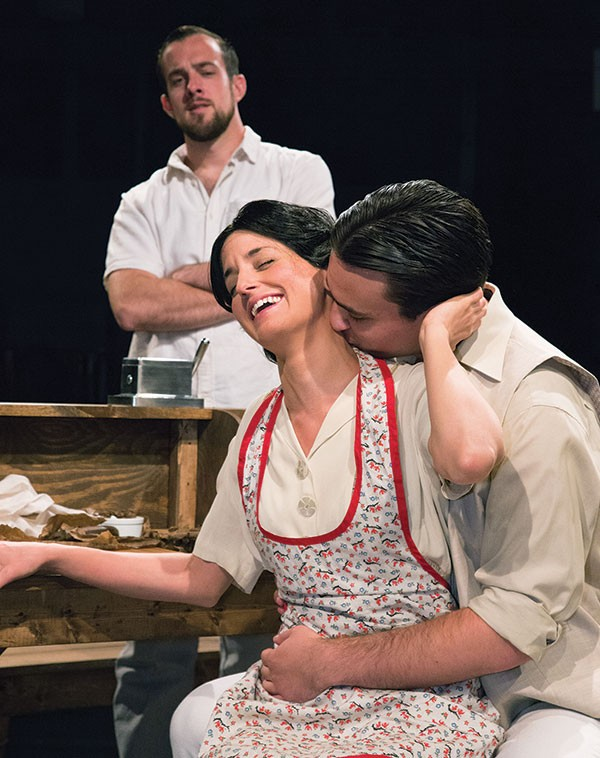 From left to right: Daniel Harrold, Kaitlin Kerr and Erik Martin in Little Lake's Anna in the Tropics