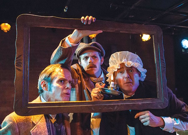 From left: James FitzGerald, Connor McCanlus and David Whalen in Kinetic Theatre's The Hound of the Baskervilles