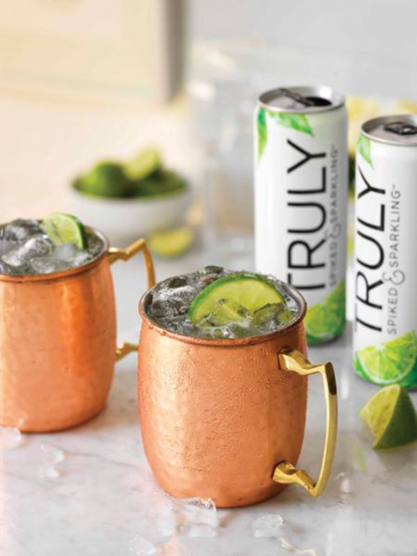 A Moscow Mule prepared with Truly Spiked & Sparkling Colima Lime