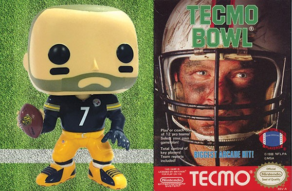 Ben Roethlisberger's Funko vinyl figure and Nintendo's Tecmo Bowl video game