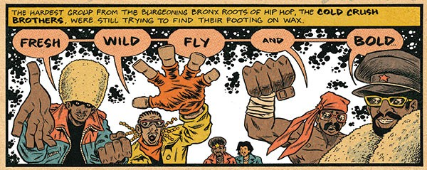 The Cold Crush Brothers, as depicted by Ed Piskor in Hip Hop Family Tree Book 4