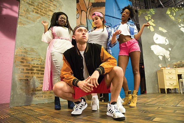 From left: Arica Jackson, Krista Antonacci, Amber Jones and Jordan Bolden in Wig Out!, at The REP.