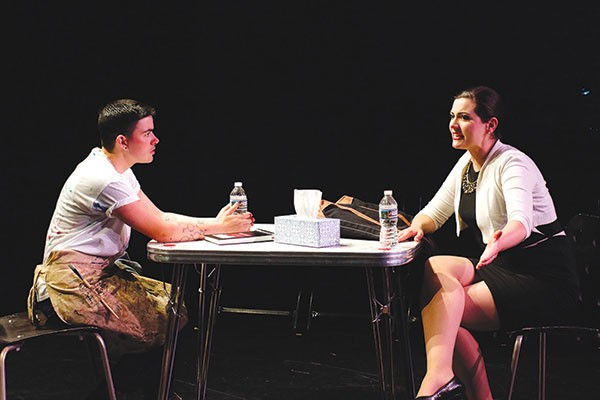 Liam Ezra Dickinson (left) and Maura Underwood in The Censor, at Throughline Theatre Co.
