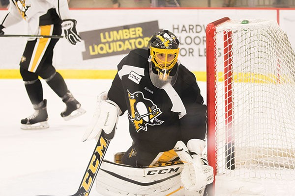 Marc-Andre Fleury at Penguins practice on Sat., Oct. 1