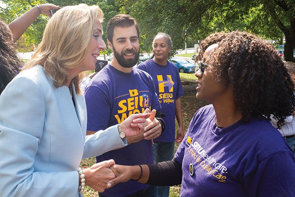 Katie McGinty meeting with labor union members in Pittsburgh