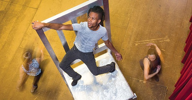 "Anthony Williams (foreground) rehearses Attack Theatre's ""Unbolted"" - PHOTO COURTESY OF RENEE ROSENSTEEL"
