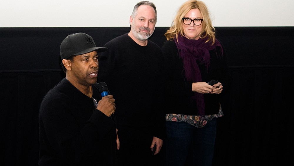 Denzel Washington with Fences producer Todd Black and executive producer Molly Allen - CP PHOTO BY LUKE THOR TRAVIS