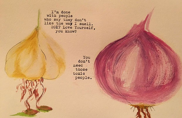 Garlic is a pungent but effective curative in fire cider. - ILLUSTRATION BYMADALYN HOCHENDONER