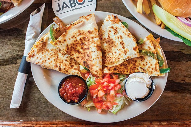 Quesadilla: Jabo's smoked meats, with cheese, grilled bell peppers and onion, and served with salsa and sour cream