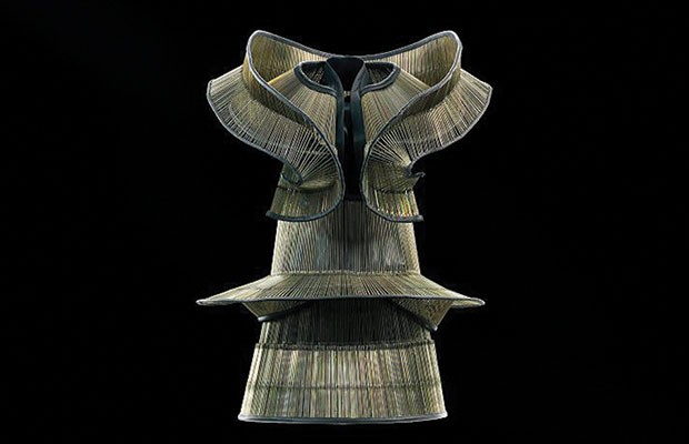 """A dress and collar from Iris van Herpen's """"Chemical Crows"""" collection (2008)"""