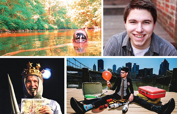 Pittsburgh Fringe acts, clockwise from upper left: One Man Apocalypse Now, magician Cody Clark, The Seven Suitcases of a Snake Oil Salesman and Cockatrice