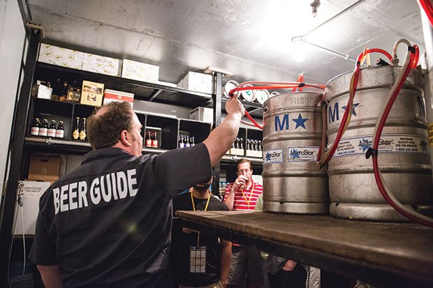 Barry Hansen leads a tour for City Brew Tours.