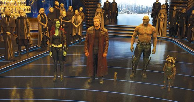 Checking in: Gamora (Zoe Saldana), Peter Quill (Chris Pratt), Baby Groot, Drax (Dave Bautista) and Rocket