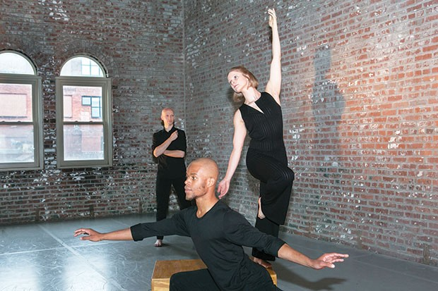 Attack Theatre dancers (from left) Dane Toney, Anthony Williams and Kaitlin Dann rehearse for The Next Stop.