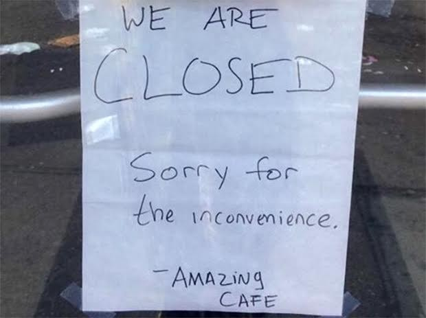 Sign posted on South Side's Amazing Cafe - PHOTO COURTESY OF RESTAURANT OPPORTUNITIES CENTER OF PITTSBURGH