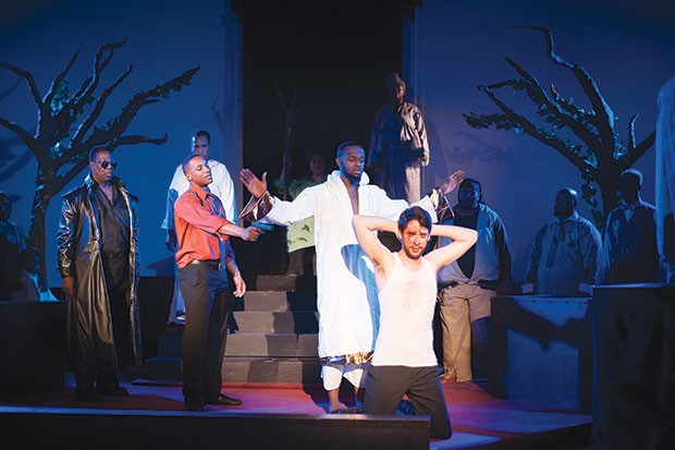 A Gathering of Sons, at Pittsburgh Festival Opera: Miles Wilson-Toliver (with gun); Terriq White (arms spread) and Robert Gerold (kneeling)