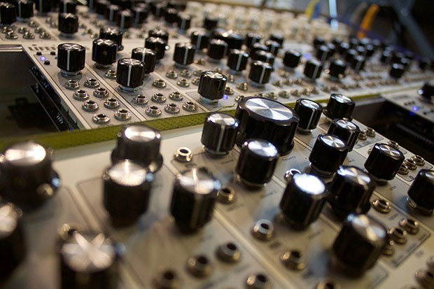A close-up of a synthesizer available at Pittsburgh Modular Synth Playground