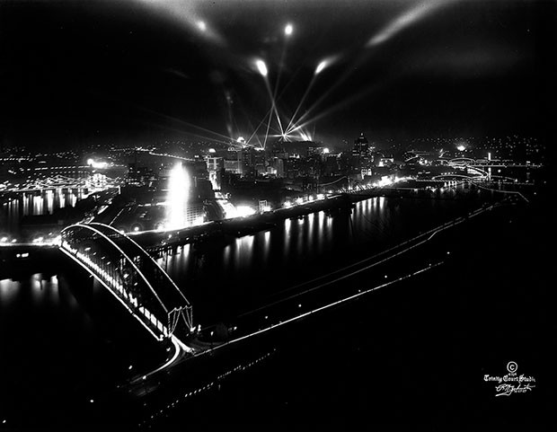 Night view of 1939 Pittsburgh skyline - PHOTO COURTESY OF THE HEINZ HISTORY CENTER