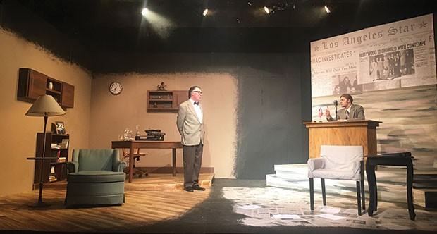 Greg Caridi (left) and Dalton Wynegar in Trumbo at South Park Theatre
