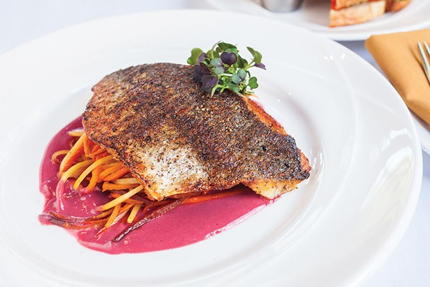 Greek dorade with carrots, shallots and roasted garlic-beet cream