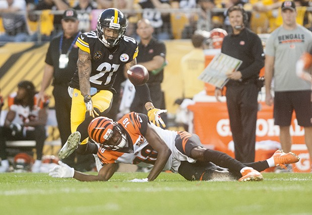 Steelers Joe Haden steps in front of Bengals A.J. Green for an interception.