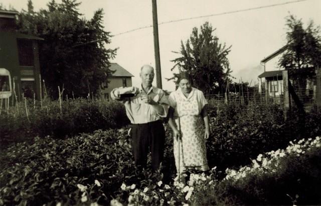 Peter Argentine's grandparents in their garden circa 1940 - PHOTO COURTESY OF PETER ARGENTINE