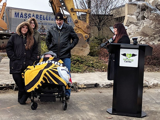 The Briggs family at the groundbreaking ceremony in Monroeville - CP PHOTO BY REBECCA ADDISON