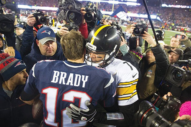 Ben Roethlisberger congratulates Tom Brady after the Steelers AFC Championship loss to the New England Patriots in January. - CP PHOTO BY VINCENT PUGLIESE