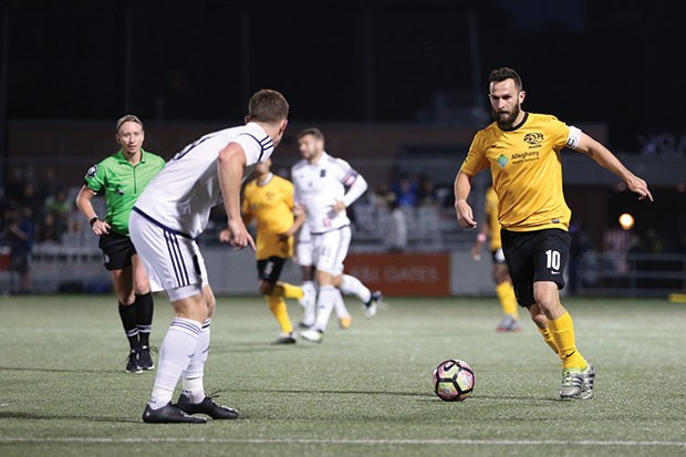 Pittsburgh Riverhounds captain Kevin Kerr (right) - PHOTO COURTESY OF CHRIS COWGER