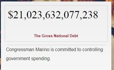 The debt clock on Tom Marino's homepage