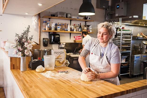 Csilla Thackray preparing pasta at The Vandal - CP PHOTO BY VANESSA SONG