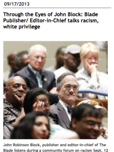 A screencap of a September 2013 Toledo Blade story about Post-Gazette Publisher John Robinson Block's views on race