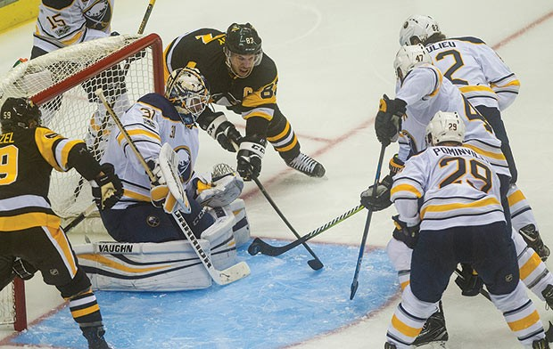 The Buffalo Sabres face the Pens at PPG Paints Arena in 2017. - CP PHOTO BY VINCENT PUGLIESE