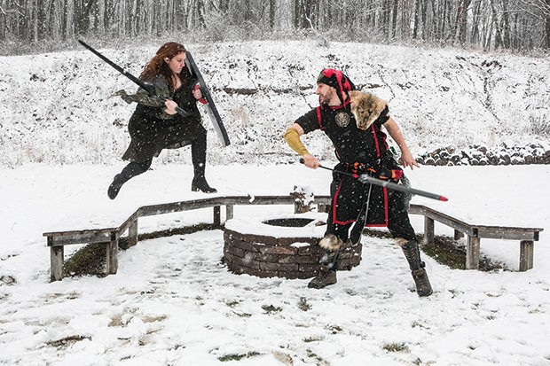 Raphael Brothers and Ron Goldie at a Pittsburgh Roleplaying Organization LARPing event in Sewickley - CP PHOTO BY JOHN COLOMBO