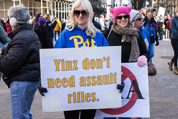 Rally goer at March for Our Lives in Downtown Pittsburgh on March 24 - CP PHOTO BY JAKE MYSLIWCZYK
