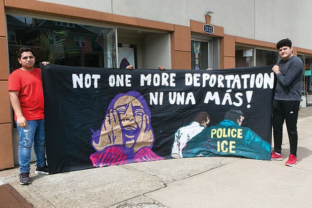 Members of immigrant-rights group Casa San Jose have used this sign to protest increased ICE enforcement in Pittsburgh over the years. - CP PHOTO BY JOHN COLOMBO