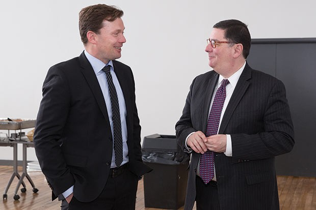 Danish Ambassador Lars Gert Lose (left) meeting with Bill Peduto in March - PHOTO COURTESY OF SWANSON SCHOOL OF ENGINEERING/JOHN ALTDORFER