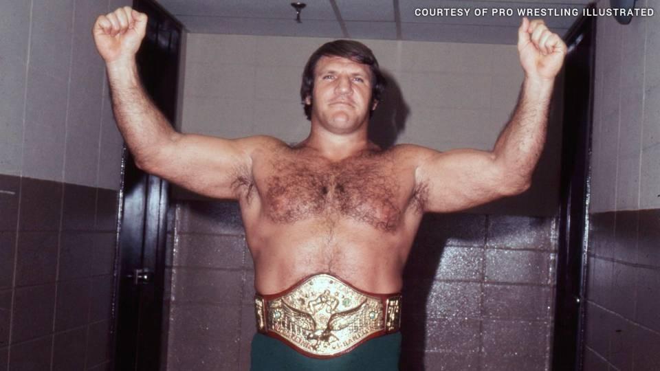 "Bruno Sammartino, ""the Italian Superman,"" with his championship belt - PHOTO COURTESY OF PRO WRESTLING ILLUSTRATED"