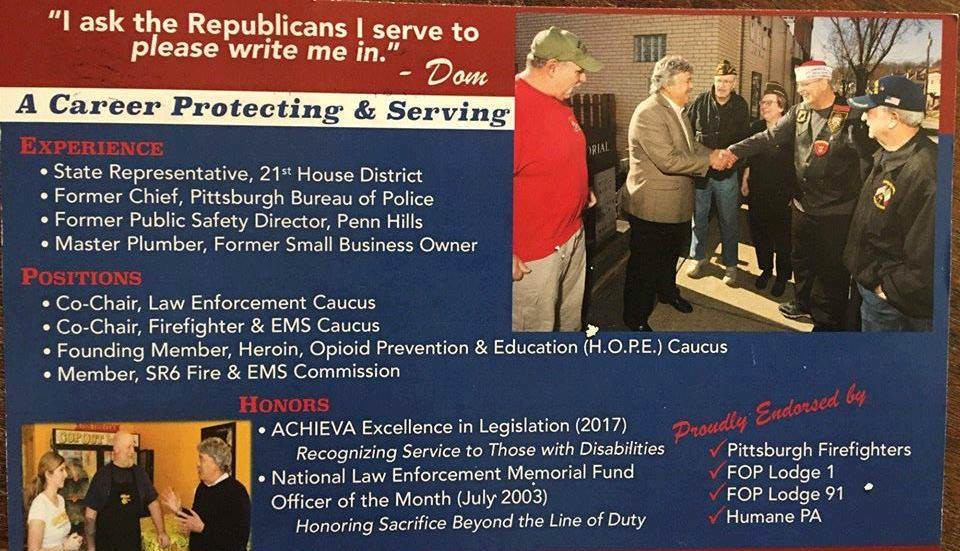 Dom Costa mailer sent to Republican voters - IMAGE COURTESY OF PITTSBURGH DEMOCRATIC SOCIALISTS OF AMERICA