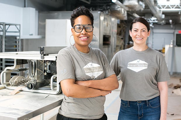 Jewel Edwards and Christina Decker in The Bakery Society Pittsburgh's new space - CP PHOTO BY JOHN COLOMBO