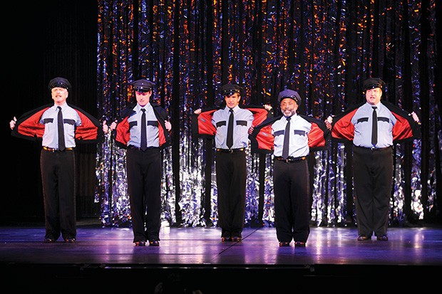 John Hickok, Kevin Massey, Dan Deluca, Randy Donaldson and Matt Newberry in The Full Monty - PHOTO COURTESY OF MATT POLK